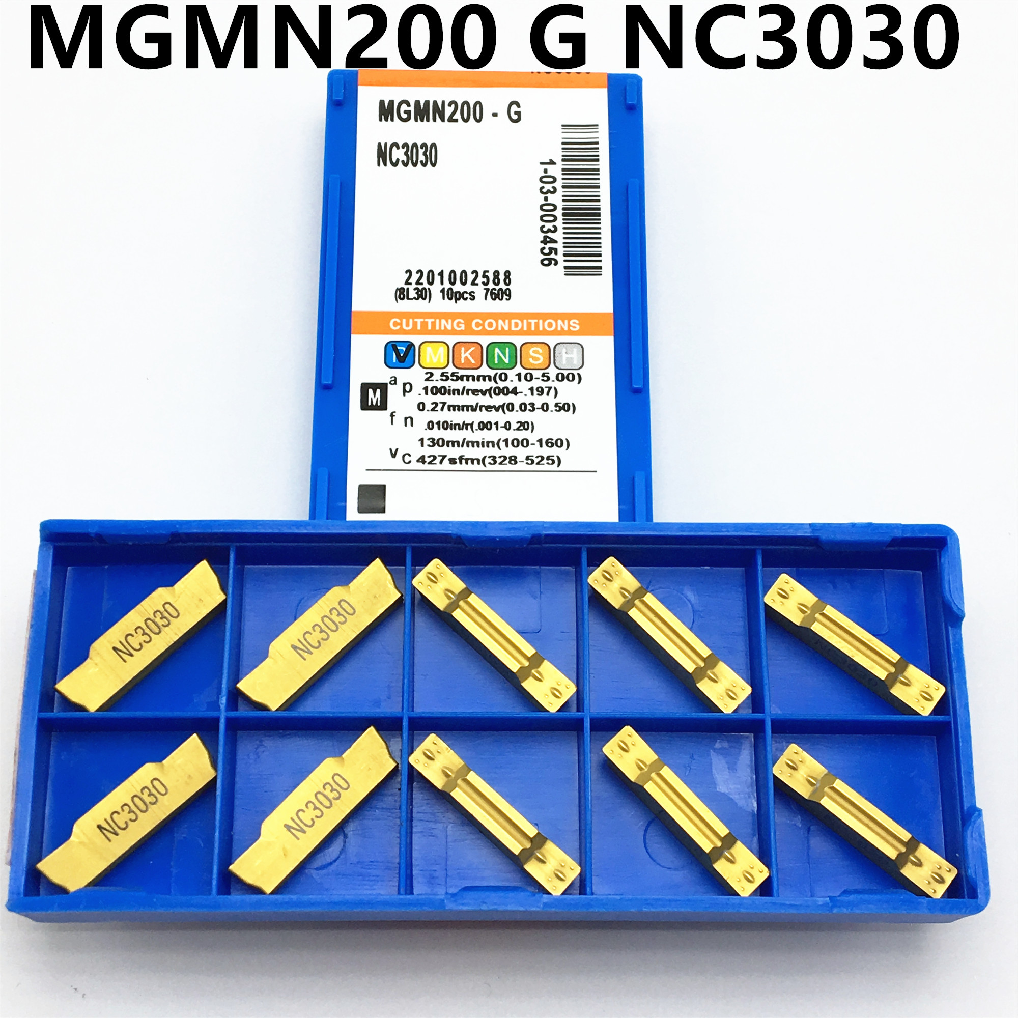 10p MGMN200-G NC3030 CNC grooving carbide inserts machine tool coated with PVD