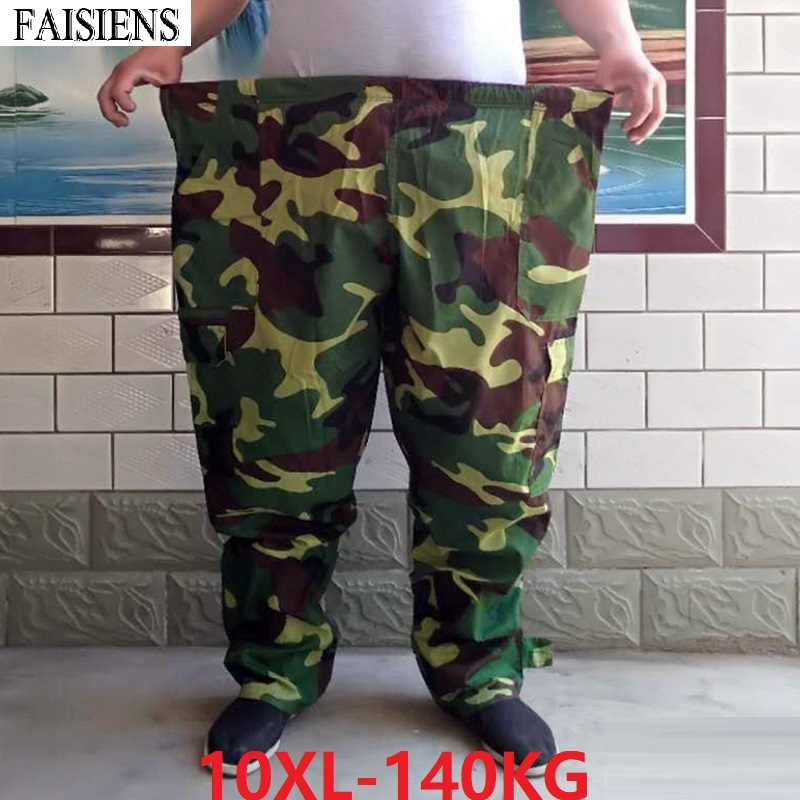 Large Size 9XL 10XL Men's Cargo Pants Elastic Waist Plus Size 8XL Camouflage Army Green Out Door 140KG Military Style Work Pants