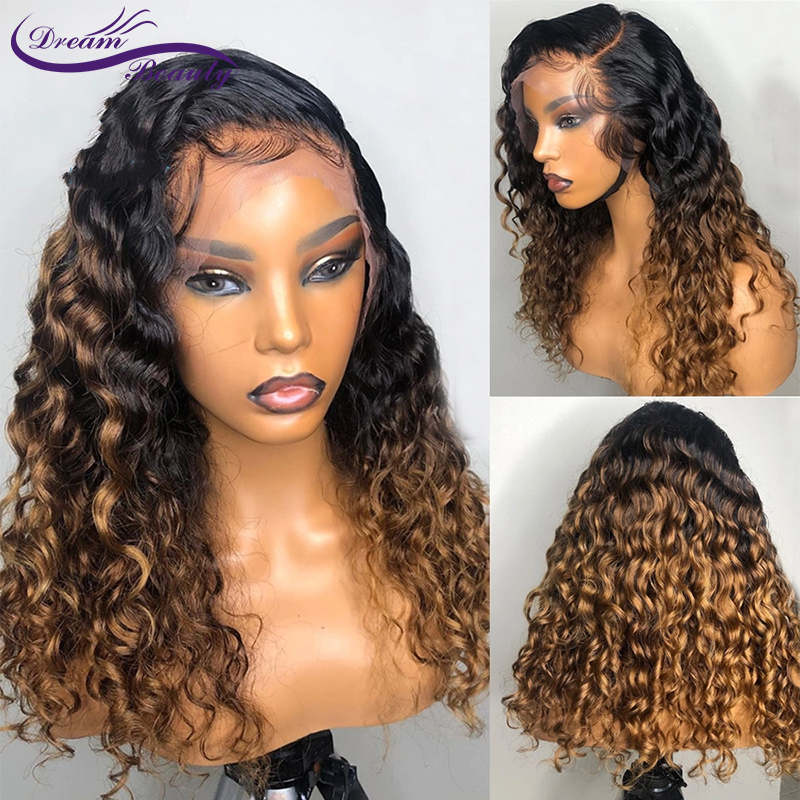 Ombre Honey Blonde Curly Human Hair Wig Brazilian Remy Preplucked 13X4 Lace Front Wig Glueless Baby Hair For Women Dream Beauty