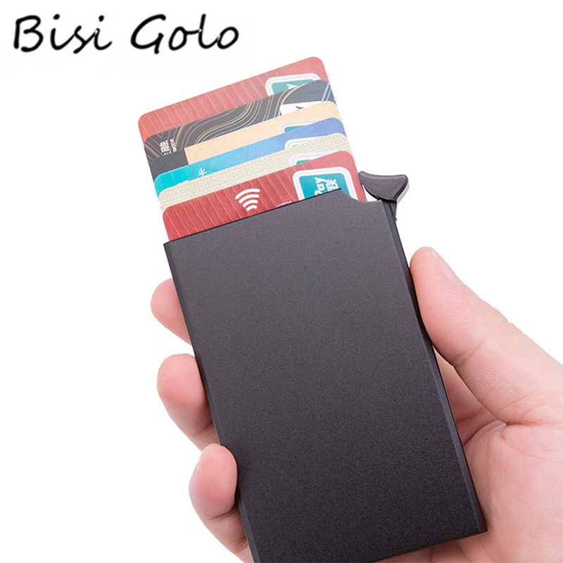 BISI GORO RFID Anti-theft Credit Card Holder Thin ID Card Case Unisex Automatically Solid Metal Bank Card Wallet Business Mini