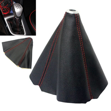 Red Stitch Black Carbon Fiber Retainer Shifter Shift Gear Knob Boot Cover