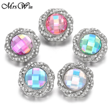 6pcs/lot New Snap Jewelry 18mm Flower Buttons Rhinestone Knot Metal Fit Leather Silver Bracelet