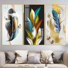 5d diy daimond pintura nordic folha de planta dourada pena 3d diamante mosaico kit completo strass bordado diamante n1553