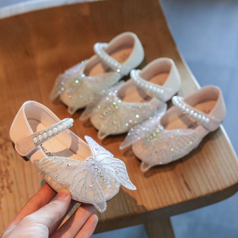 Girls Butterfly Shoes 2020 New Fashion Korean Children's Pu Pearl Rhinestones Princess Shoes Kids Flat Dance Shoe Girls Sneakers