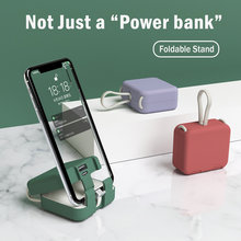 Multi-Function Power Bank Self-Contained Charging Cable Mobile Phone Holder Back Clip Power Bank For Iphone Xiaomi Huawei