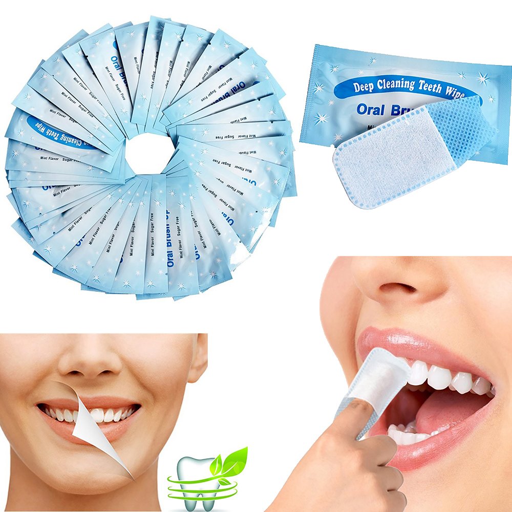 40Pcs Oral Hygiene White Teeth Brush Up Wipe Tooth Brush Finger Tip Oral Deep Cleaning Wipes Dental Teeth Whitening