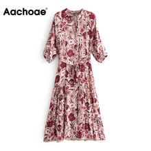 Aachoae Floral Print Dress Women Bow Tie Bandage Pleated Dress