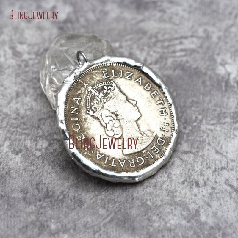 Копия монеты кулон спаянный Серебряный 2 сторонний, свинец FreePM29279 - Окраска металла: PM29278