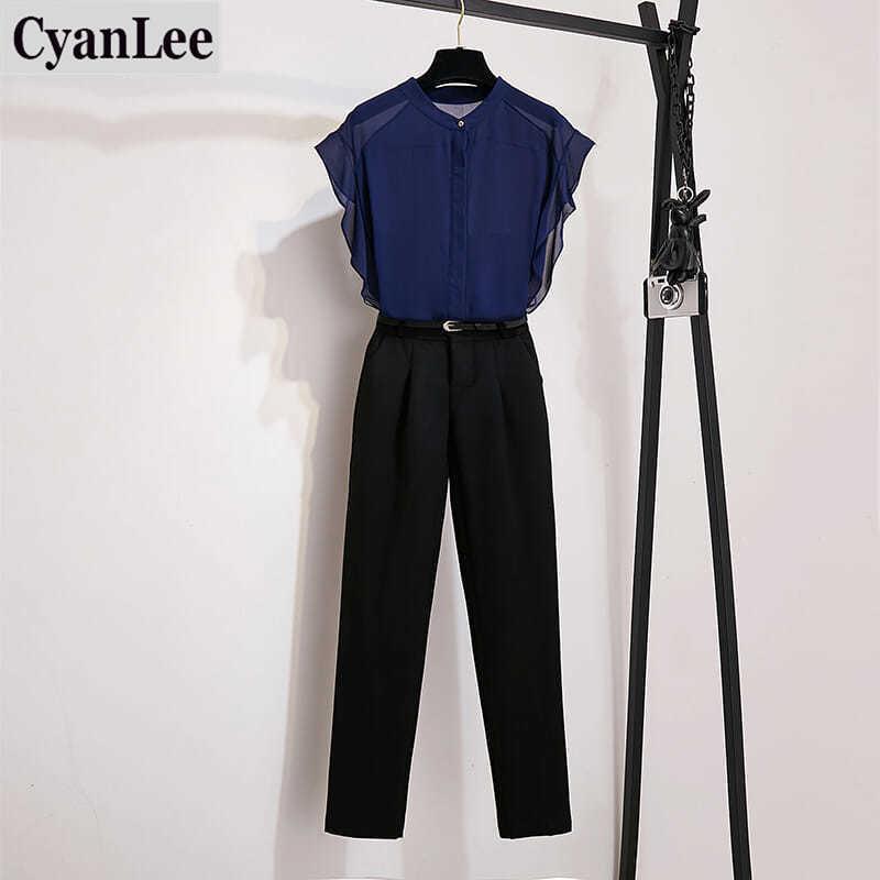 Cyanlee 2 Buah Set 2020 Musim Panas Pendek Lengan Round Kerah Lengan Batwing Wanita Blus Sifon Celana Panjang Hitam Baru
