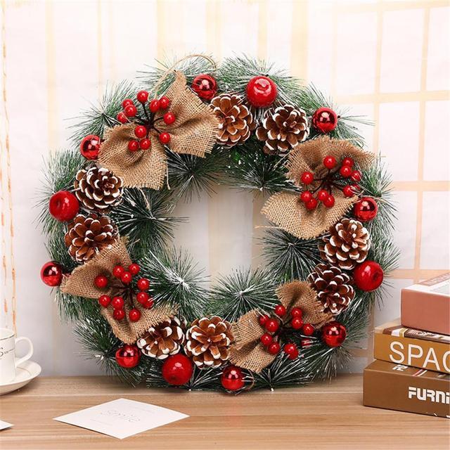 Christmas Wreath Handmade Rattan Pendant Christmas Garland Mall Xmas Tree Door Decoration Advent Wreath guirnalda navidad