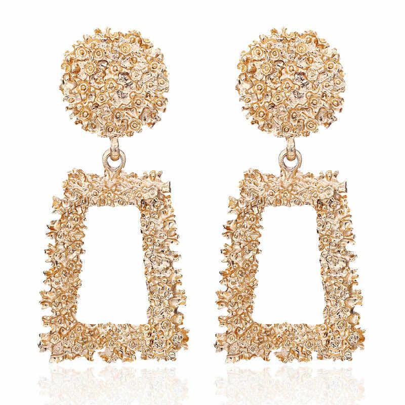 9 스타일 여성 성명에 대 한 패션 골드 금속 드롭 귀걸이 큰 기하학적 매달려 금속 매달려 귀걸이 za 2019 brincos 쥬얼리