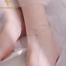 XIYANIKE – Bracelet Double épaisseur en argent Sterling 925 pour femmes, élégant, mode, amour, cœur, pied, bijoux, cadeaux