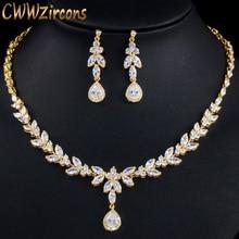 CWWZircons Elegant Leaf Drop African Nigerian CZ Zirconia Yellow Gold Brides Wedding Jewelry Set for Women Party Dress T371