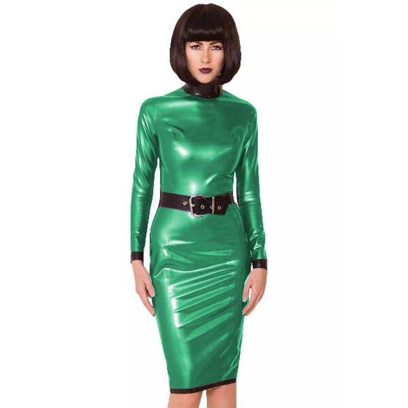24 Colors Back Zipper Long Sleeve Knee Length Dress Lady Slim Vestido Fashion Patchwork Color Midi Dress Sexy Stage PVC Clubwear 13