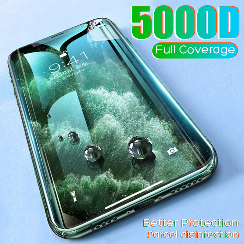 5000D Protective Glass For IPhone 6 6S 7 8 Plus X 11 Pro MAX Glass On IPhone 7 6 8 Plus XR XS MAX 11 Pro MAX 11 Screen Protector