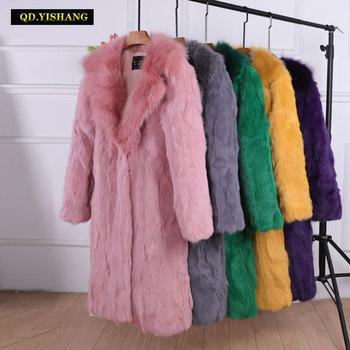 цена на Fur coat real fur coat winter coat women Real rabbit fur Long coat women coats Fox fur suit fur collar Raccoon Dog Fur collar