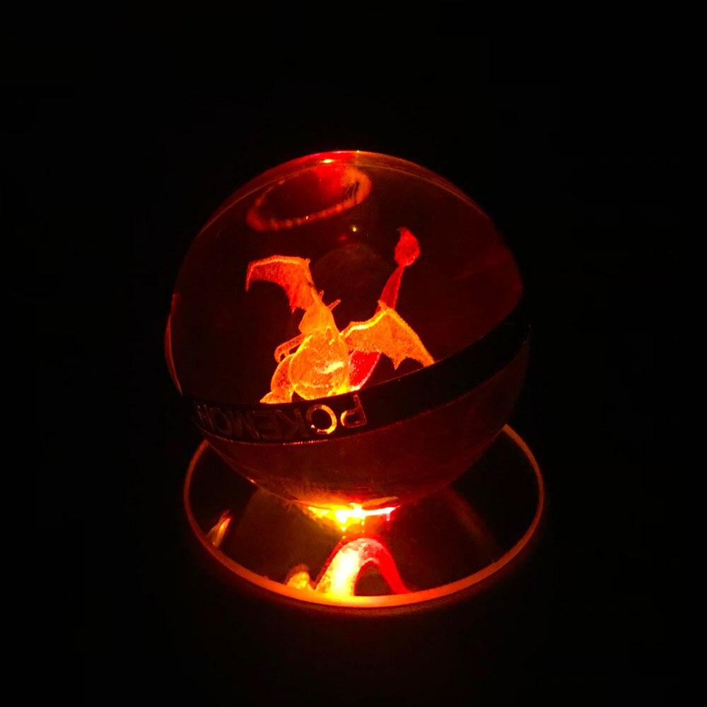 Pokemon Vulpix K9 PokeBall Crystal 3D LED Decor Night Light RGB Table Lamp 6cm