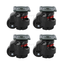 2 Pcs Retractable Leveling Machine Casters, Plate Mount Retractable Workbench Caster, With Nylon Wheel and Rubber Foot