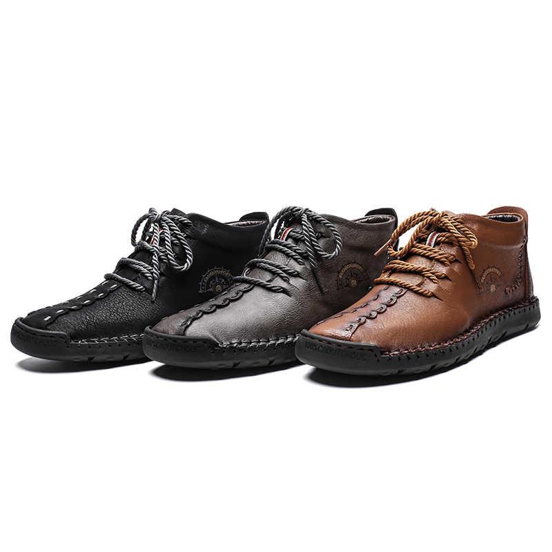 2019 Nuovi Uomini di Casual scarpe Da Trekking Uomo In Pelle di Moda Scarpe Comode Scarpe Lace-up di Sesso Maschile Stivali Piatti Inverno Impermeabile Scarpa Da Tennis