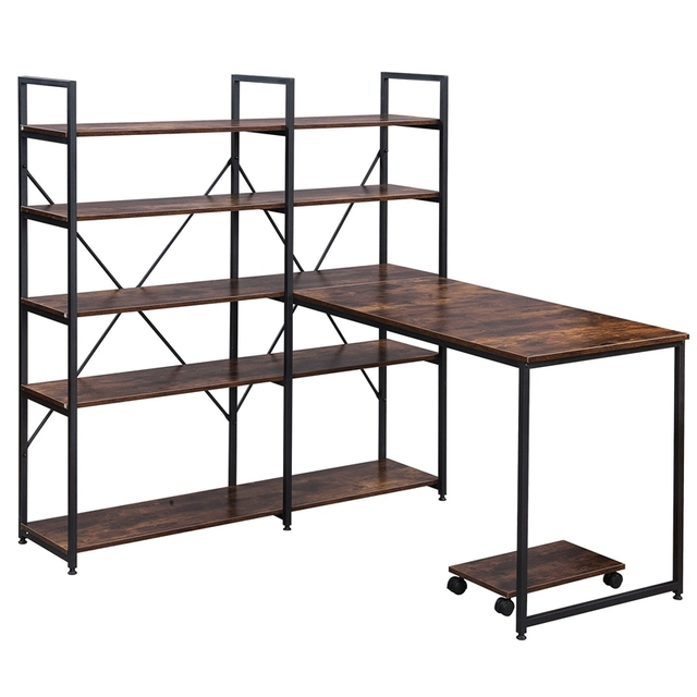 """Home Office 54"""" Large Computer Desk with 5-tier Shelves 5"""