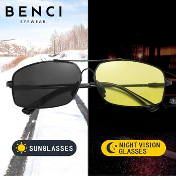 2021 okulary przeciwsłoneczne fotochromowe polaryzacyjne męskie okulary do jazdy dzień noktowizor kobiety bezpieczeństwo kierowcy gogle óculos De Sol Masculino tanie i dobre opinie BENCI CN (pochodzenie) Polaroid Rectangle Dla osób dorosłych Magnes aluminium UV400