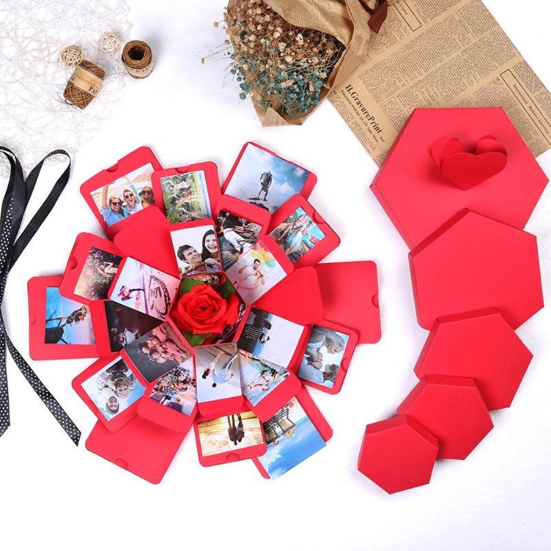 Creative Hexagon Surprise Explosion Box Bomb Box DIY Scrapbook Photo Album Festival Birthday Anniversary Gift For Girlfriend