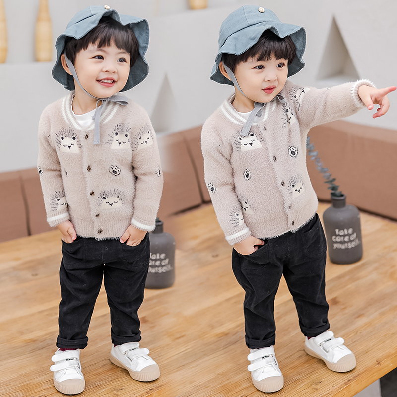 Boys Cardigan Knitted Sweaters 2019 Korean Style Kids Pullover Jumper Toddler Children Fall Autumn Winter 18M to 7 Years