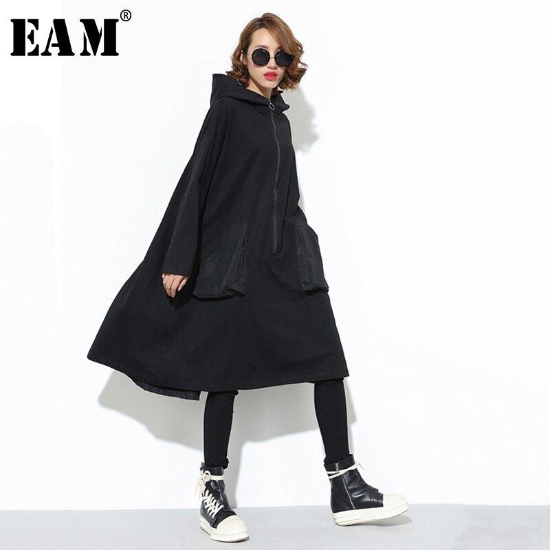[EAM] Women Black Big Pocket Back Ribbon Big Size Dress New Hooded Long Sleeve Loose Fit Fashion Tide Spring Autumn 2020 JD079