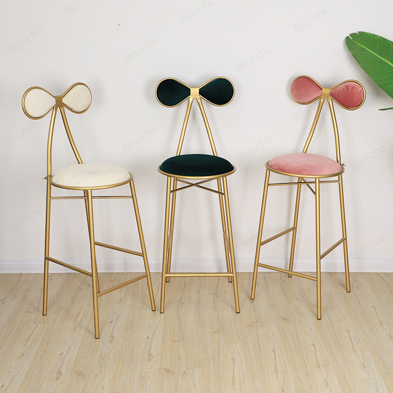 Nordic Butterfly Metal Dining Chairs Gold Bar Vanity Makeup Chair Stool Modern Bedroom Dressing Party Sofa Stools Home Art Decor