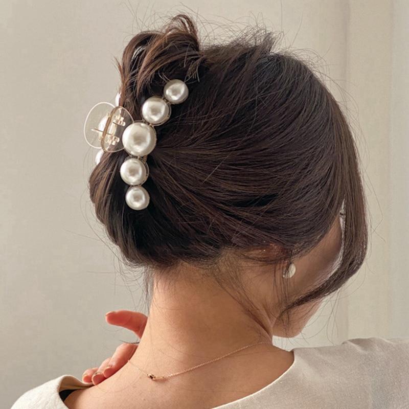 Женские акриловые заколки для волос AOMU, большие жемчужины, заколки большого размера для макияжа и укладки волос, аксессуары для волос, 2020|Украшения для волос|   | АлиЭкспресс