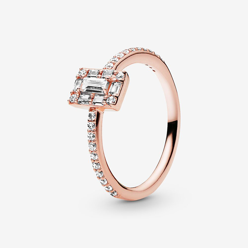 JrSr new 100% 925 Sterling Silver Ring Sparkling Square Halo Ring Rose Color Ring for Women DIY Anniversary Jewelry Freeshipping