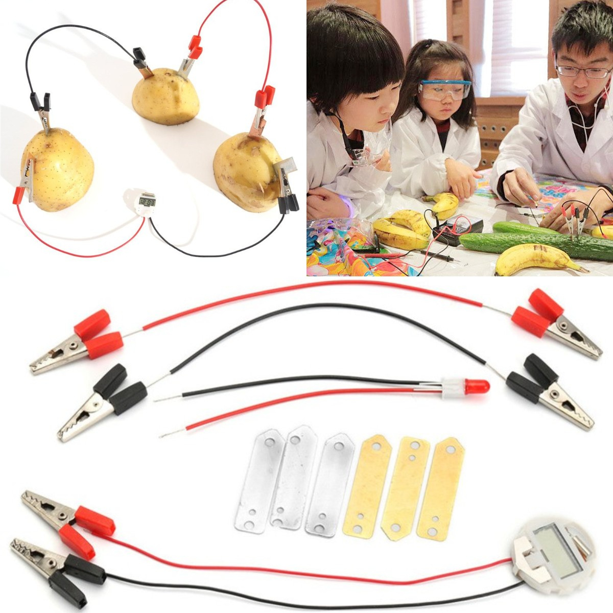 Potato Fruit Biologia Energy Generate Electricity Science Experiment Educational Toys For Children Kids School Electric STEM Kit