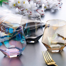 Creative Crystal Glass Cup Golden Rim Transparent Coffee Milk Tea Mug Geometric Whiskey Glass Home Bar Drinkware Couple Gifts