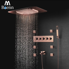M Boenn Luxury Rose Gold LED Shower System Music ShowerHead Bathroom Faucets Rain Shower Set Thermostatic Brass Concealed Mixer