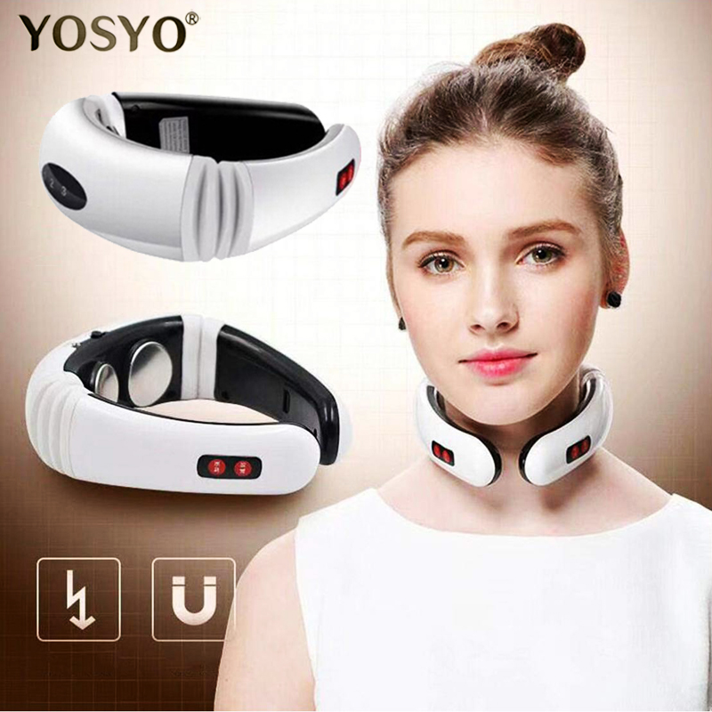 Electric Pulse Back Neck Massager Far Infrared Heating Pain Relief Health Care Tool Machine