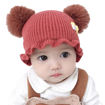 Winter Baby Boy Girl Hat Beanie for 3-12M Infant Toddler Cute Balls Knitted Pompom Cap Crochet Casual Fashion Hats