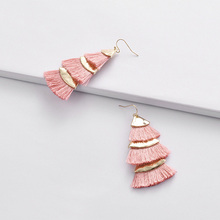 Kara&Kale Boho Colorful Three Layers Tassel and Alloy Drop Earrings Fashion Jewelry Gothic Vintage Gold For Women ED032