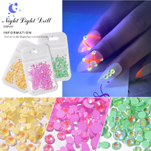 1 Pack Luminous Crystal DIY Nail Art  Glitter Rhinestone 3D Decoration AB Color Fluorescence Diamond Drill