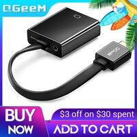 QGEEM Cable HDMI Compatible con VGA adaptador de vídeo Digital de Audio convertidor HDMI conector VGA para Xbox 360 PS4 PC portátil caja de TV
