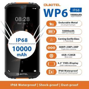 Прочный водонепроницаемый Смартфон OUKITEL WP6, Ip68, восемь ядер, 6 ГБ 128 ГБ, мобильный телефон, 9 В/2 А, 10000 мАч, аккумулятор, тройная камера 48 МП