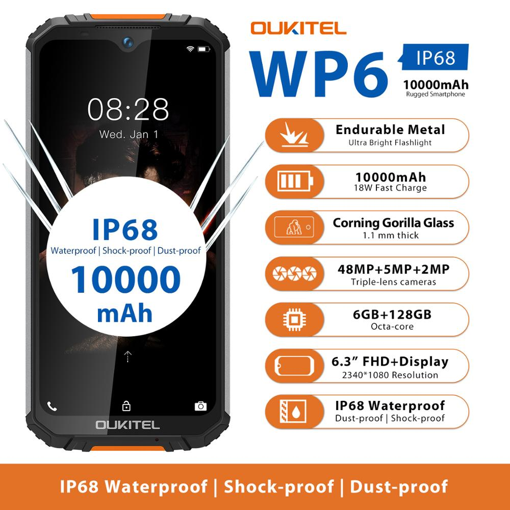 Rugged Waterproof Smartphone OUKITEL WP6 Ip68 Octa Core 6GB 128GB Mobile Phone 9V/2A 10000mAh Battery 48MP Triple Camera