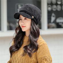 Женская Зимняя кепка с козырьком и пуговицами из овечьей шерсти