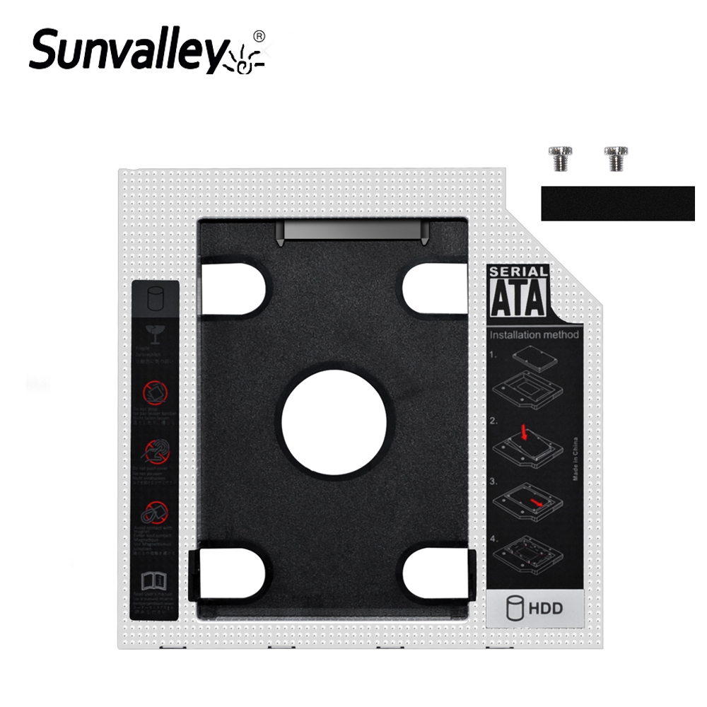 Sunvalley Aluminum Alloy&Plastic 12.7mm 2nd HDD Caddy SATA To SATA 3.0 For Laptop DVD/CD-ROM Optical Bay 2.5