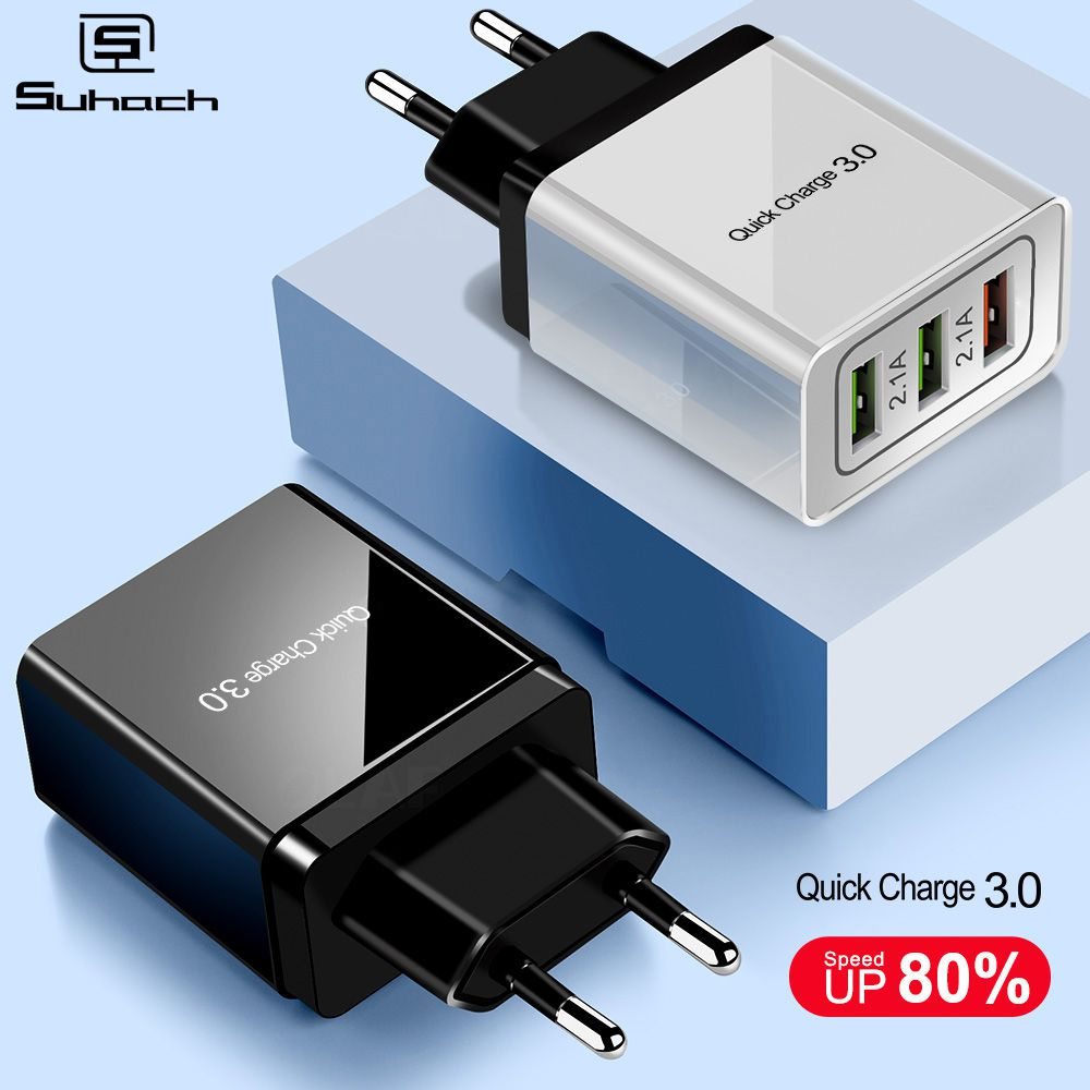 US $2.99 25% OFF Suhach Quick Charger 3.0 USB Charger Power Wall Adapter for iPhone iPad Samsung Xiaomi Mobile Phones QC3.0 Travel Fast Charger Mobile