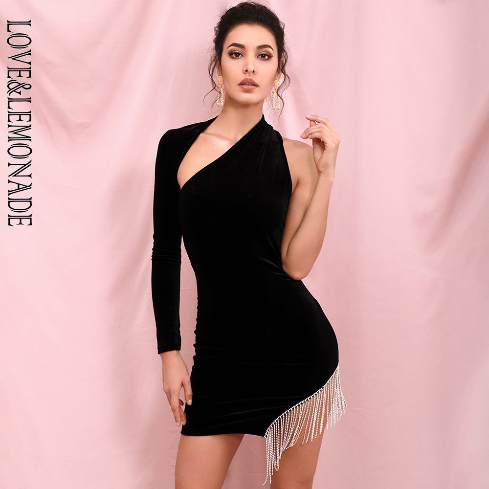 LOVE & LEMONADE Sexy Open Back Single Sleeve Stretch Velvet Rhinestone Tassel Mini Dress LM90198