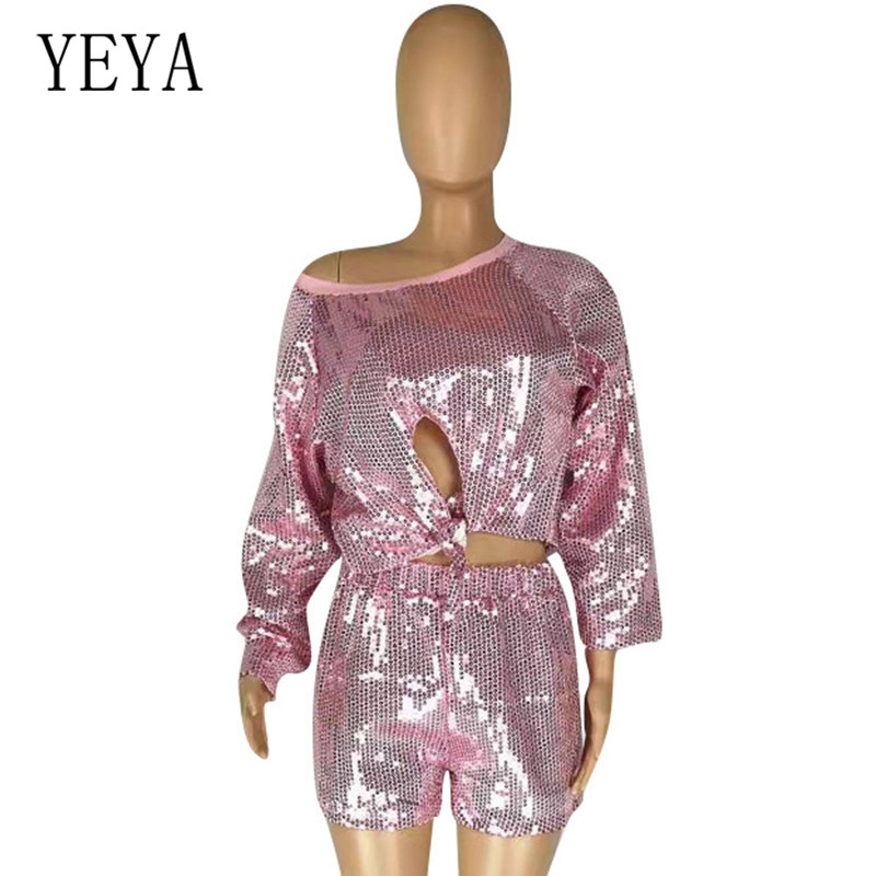 YEYA Elegant Short Rompers Women 2 Pieces Sets Sequin Playsuits Sexy Hollw Out Tie Up Bodycon Bandage Glitter Overalls Jumpsuits in Rompers from Women 39 s Clothing