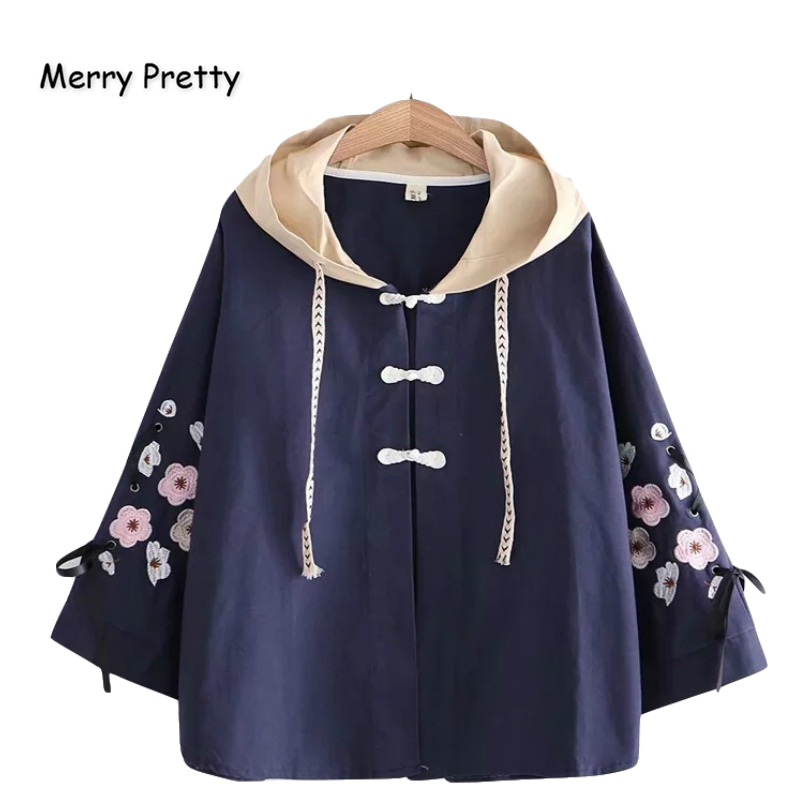 Merry Pretty Women's Floral Embroidery   Basic     Jackets   2019 Winter Lace Up Sleeve Hooded Patchwork Cotton Coats Casual Outerwear
