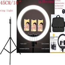 Светодиодный кольцевой светильник 18 дюймов 55 Вт 480 шт., светильник 200 см с подставкой 1 пульт дистанционного управления для фотографии, камеры, фотостудии, светодиодный светильник ing