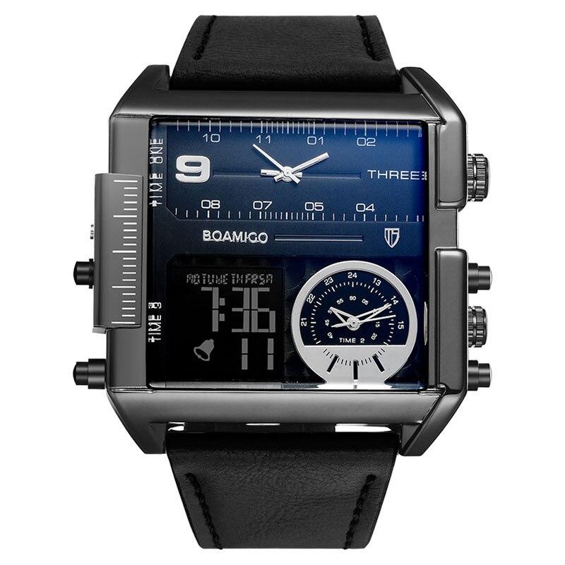 BOAMIGO brand men sports watches 3 time zone big man fashion military LED watch leather quartz wristwatches relogio masculino 2