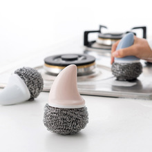 Kitchen Cleaning Brush ABS Stainless Steel Wire Ball Brush Shark Handle Pan Kitchen Accessories Dish Handle Washing Tool kitchen stainless steel wash pot tool household washing dish decontamination cleaning wire ball large steel wool